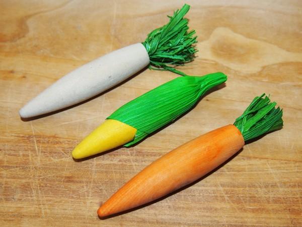 Dřevěná hryzací zelenina - 3 ks