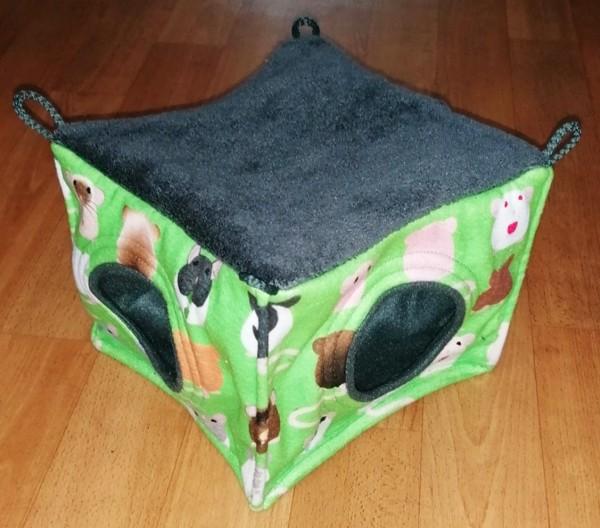 Látkový pelíšek kostka Rodentia - dva vchody
