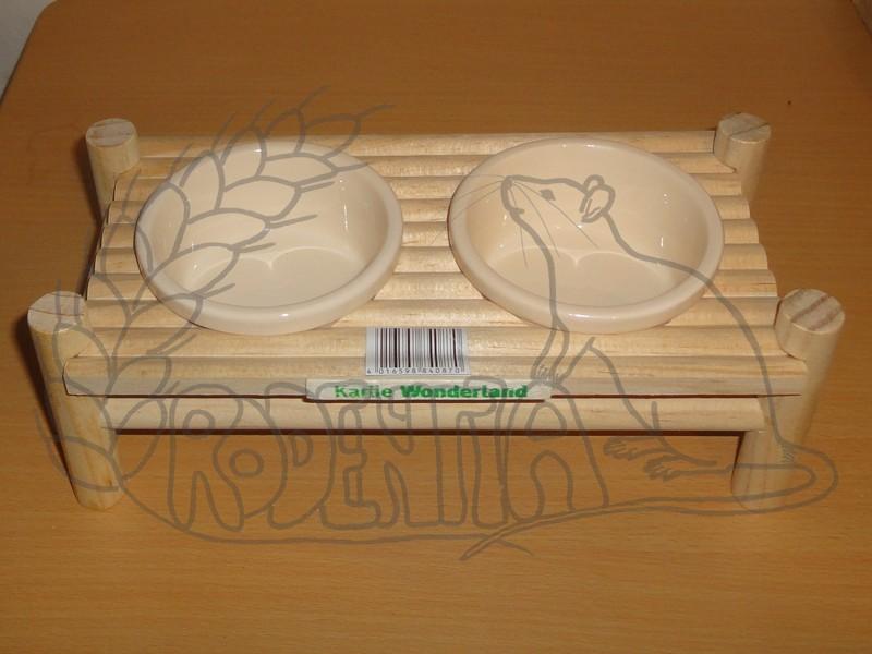 Dvojmiska ve dřevěném stojánku